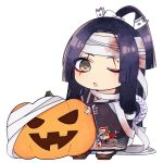 bandaged_hands bandaged_head bandages bangs black_kimono bow brown_eyes brown_footwear chibi commentary_request copyright_request full_body geta hair_bow halloween high_ponytail highres jack-o'-lantern japanese_clothes kimono long_hair long_sleeves mole mole_under_eye one_eye_closed parted_bangs parted_lips ponytail purple_hair sidelocks simple_background sleeves_past_wrists sofra solo standing very_long_hair white_background white_bow wide_sleeves