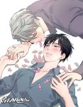 2boys artist_name biting black_hair blue_eyes blush brown_eyes candy chest collarbone commentary dress_shirt expressionless fingernails food food_in_mouth from_above gearous grey_hair grey_shirt holding_hands husband_and_husband interlocked_fingers jewelry katsuki_yuuri long_sleeves looking_at_another looking_away looking_up lying male_focus multiple_boys on_back on_floor on_stomach open_clothes open_shirt parted_lips purple_shirt ring shirt symbol_commentary too_many too_many_candies upper_body viktor_nikiforov wedding_ring yaoi yuri!!!_on_ice