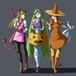 3girls adult artist_name automaticgiraffe bag boots daisy devil_horns devil_tail eggplant elf flower goddess halloween halloween_costume human hylian kid_icarus kid_icarus_uprising mario_(series) mario_tennis mummy_costume nintendo nintendo_ead orange_dress palutena palutena_no_kagami princess_daisy princess_zelda pumpkin pumpkin_costume sora_(company) super_mario_land super_smash_bros. the_legend_of_zelda the_legend_of_zelda:_a_link_between_worlds witch_hat zelda_no_densetsu