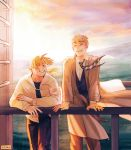 2boys ^_^ against_railing alphonse_elric artist_name backlighting black_pants black_shirt blonde_hair blush brothers brown_coat buttons clear_sky clenched_teeth closed_eyes clothes_lift coat commentary day dress_shirt edward_elric english_commentary eyebrows_visible_through_hair fingernails floating_hair fullmetal_alchemist grass hand_rest happy highres hood hood_down hooded_jacket jacket male_focus mountain multiple_boys nature necktie orange_sky outdoors pants purple_sky railing shirt siblings sky smile sun sunset teeth upper_teeth viktoria_ridzel waistcoat white_shirt wind wind_lift