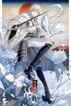 1boy abandon_ranka armor bird black_gloves crane_(animal) flower gloves highres hood japanese_armor japanese_clothes katana male_focus mountain object_namesake partly_fingerless_gloves pom_pom_(clothes) sandals seigaiha smile sword tabi touken_ranbu tsurumaru_kuninaga weapon white_hair white_spider_lily yellow_eyes