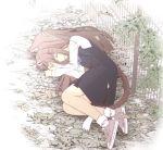 1girl :3 animal_ears brown_hair cat_ears cat_girl cat_tail chinchin_kemokemo fence fujisaki_yuu full_body ground hair_ornament leaf lying on_side outdoors school_uniform shoes skirt sleeping smile sneakers socks tail white_background white_legwear