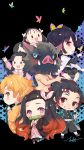 3boys 5girls :d \m/ absurdres agatsuma_zenitsu bamboo bangs bare_back belt belt_buckle bit_gag black_hair black_jacket black_legwear black_pants black_skirt blonde_hair blue_eyes blush blush_stickers boar_mask braid brown_footwear brown_hair buckle bug butterfly butterfly_hair_ornament cape checkered chibi collared_shirt commentary_request dress_shirt earrings eyebrows_behind_hair facial_scar forehead forehead_scar gag gradient_hair grin hair_ornament hair_ribbon hashibira_inosuke heart highres insect jacket japanese_clothes jewelry jiujiuyatou_(yayanzz) kamado_nezuko kamado_tanjirou kimetsu_no_yaiba kimono long_hair long_sleeves mouth_hold multicolored_hair multiple_boys multiple_girls nakahara_sumi navel obi open_clothes open_mouth pants parted_bangs parted_lips pig_mask pink_eyes pink_kimono pink_ribbon pink_shirt pleated_skirt profile puffy_long_sleeves puffy_pants puffy_sleeves ribbon sash scar shirt side_ponytail skirt sleeves_past_wrists smile socks solid_oval_eyes star starry_background takada_naho terauchi_kiyo thick_eyebrows tsuyuri_kanao twin_braids twintails very_long_hair violet_eyes white_belt white_cape white_footwear white_legwear wide_sleeves yellow_eyes