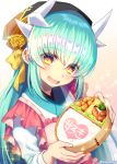 1girl apron aqua_hair blush dragon_girl dragon_horns fate/grand_order fate_(series) food heart heart-shaped_pupils horns japanese_clothes kimono kiyohime_(fate/grand_order) long_hair looking_at_viewer minamo25 obi sash short_kimono smile solo symbol-shaped_pupils twitter_username very_long_hair wide_sleeves yellow_eyes