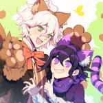 2boys ahoge animal_ears black_hair bow cat_ears commentary danganronpa eyebrows_visible_through_hair fake_animal_ears fang green_eyes grin hair_between_eyes highres komaeda_nagito long_hair male_focus messy_hair multiple_boys nanin new_danganronpa_v3 orange_bow ouma_kokichi pink_eyes purple_hair purple_scarf scarf smile super_danganronpa_2 tail white_hair wolf_ears