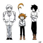 1girl 2boys ahoge arms_behind_back artist_name black_hair boots cross-laced_footwear crossed_arms emma_(yakusoku_no_neverland) full_body height_difference highres looking_at_another multiple_boys norman_(yakusoku_no_neverland) nufisu orange_hair ray_(yakusoku_no_neverland) smile waistcoat white_background white_hair yakusoku_no_neverland |_|