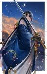 1boy abandon_ranka black_gloves blue_eyes blue_hair crescent_moon gloves hakama highres japanese_clothes katana male_focus mikazuki_munechika moon object_namesake petals sayagata smile sword tassel touken_ranbu weapon