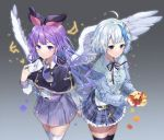 2girls aran_sweater autumn_leaves black_capelet black_legwear black_ribbon blue_hair blue_skirt blue_sweater capelet collared_shirt commentary constellation copyright_request dress_shirt envelope feathered_wings frilled_skirt frills ginkgo ginkgo_leaf grey_background grey_eyes hair_ribbon holding holding_envelope holding_leaf leaf long_hair long_sleeves looking_at_viewer multicolored_hair multiple_girls neck_ribbon necktie pinb plaid plaid_skirt pleated_skirt purple_hair purple_neckwear purple_skirt red_ribbon ribbon shirt short_necktie silver_hair skirt streaked_hair striped sweater symbol_commentary thigh-highs twitter_username vertical-striped_skirt vertical_stripes very_long_hair violet_eyes white_legwear white_shirt white_wings wings