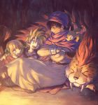 1girl 2boys :d arm_around_shoulder bangs belt bianca's_daughter bianca's_son black_hair blonde_hair blue_eyes bob_cut borongo bracelet brother_and_sister cape cloak closed_eyes creature_on_shoulder crossed_arms dark dragon dragon_quest dragon_quest_v fangs father_and_daughter father_and_son hair_ribbon hand_on_own_cheek hero_(dq5) jewelry leg_wrap looking_at_another low_ponytail multiple_boys nature on_ground open_mouth ponytail profile purple_cloak red_cloak ribbon robe siblings sitting sleeping smile turban yuza