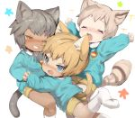 3boys animal_ear_fluff animal_ears blonde_hair blue_eyes blue_shirt cat_ears catboy dark_skin dark_skinned_male fang grin highres holding_hands kindergarten kindergarten_uniform light_brown_hair long_sleeves looking_at_viewer male_focus multiple_boys name_tag one_eye_closed open_mouth original red_eyes school_uniform shirokujira shirt shorts smile