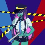 belt caution_tape colorful hand_on_hip hat highres kstnt nail_polish necktie panty_&_stocking_with_garterbelt pink_hair police police_uniform purple_hair short_shorts shorts stocking_(psg) stomach suspenders thighs torn_clothes uniform zombie