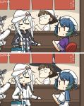 4girls bandana bangs black_headwear blue_hair blue_sailor_collar blunt_bangs brown_eyes brown_hair camouflage_jacket closed_eyes commentary_request cooler counter dated dual_persona fan flat_cap fukae_(kantai_collection) glasses hammer_and_sickle hamu_koutarou happi hat hibiki_(kantai_collection) highres japanese_clothes kantai_collection long_hair multiple_girls noren paper_fan pince-nez roma_(kantai_collection) sailor_collar school_uniform serafuku short_hair side_ponytail sidelocks silver_hair smile spot_the_differences uchiwa upper_body verniy_(kantai_collection) wavy_hair white_headwear witch_hat