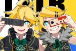 1boy 1girl ahoge anzu_(anz_le) aqua_eyes bass_clef blonde_hair blue_eyes bow bowtie controller covering_one_eye fur_collar game_controller hair_ornament hairclip headphones headphones_around_neck highres kagamine_len kagamine_rin remote_control rimocon_(vocaloid) short_hair smile vocaloid