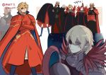 2boys absurdres armor blonde_hair blue_eyes cape closed_mouth cosplay crossed_arms dark_skin dark_skinned_male dedue_molinaro dimitri_alexandre_blaiddyd edelgard_von_hresvelg edelgard_von_hresvelg_(cosplay) eyepatch fire_emblem fire_emblem:_three_houses funyanrinpa grey_hair halloween_costume headpiece helmet highres horns multiple_boys parted_lips short_hair spoilers