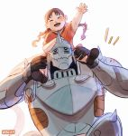 +++ 1boy 1girl :d ^_^ alphonse_elric arm_up armor artist_name backlighting black_gloves blush braid brown_footwear brown_hair carrying closed_eyes commentary english_commentary fingernails flamel_symbol floating_hair fullmetal_alchemist gloves hand_on_another's_head hand_on_another's_leg happy helmet highres hopping nina_tucker open_mouth playing red_shirt shirt short_sleeves shoulder_carry simple_background smile tongue twin_braids viktoria_ridzel white_background
