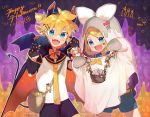1boy 1girl bag bangs basket bat_wings black_collar black_shorts black_sleeves blonde_hair blue_eyes bow bowtie candle candy cape collar commentary cowboy_shot demon_tail detached_sleeves fang fangs flower food ghost_costume hair_bow hair_ornament hairclip halloween happy_halloween heart highres jack-o'-lantern kagamine_len kagamine_rin lollipop looking_at_viewer necktie open_mouth paw_pose red_bow sailor_collar school_uniform shirt short_hair short_ponytail short_shorts shorts shoulder_bag siblings smile spiky_hair swept_bangs tail twins vampire_costume vocaloid white_bow white_shirt wings yamada_ichi yellow_neckwear