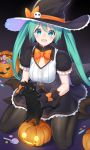 1girl aqua_eyes aqua_hair bibboss39 black_cat black_dress black_legwear blush bow bowtie breasts candy cat commentary dress food framed_breasts frilled_skirt frilled_sleeves frills halloween hat hat_bow hatsune_miku highres holding holding_cat jack-o'-lantern lollipop long_hair looking_at_viewer medium_breasts open_mouth orange_neckwear pantyhose short_sleeves sitting skirt skull smile standing twintails very_long_hair vocaloid wariza witch_costume witch_hat
