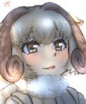1girl animal_ears backlighting bangs blonde_hair commentary eye_reflection eyebrows_visible_through_hair face fur_collar highres horizontal_pupils horns kemono_friends looking_away parted_lips portrait reflection sheep_(kemono_friends) sheep_ears sheep_girl sheep_horns short_hair simple_background smile solo thin_(suzuneya) white_background wind_turbine windmill yellow_eyes