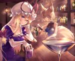 2girls alternate_eye_color amano_hagoromo animal_ear_fluff animal_ears bangs bar bare_arms bare_shoulders blonde_hair blue_dress blue_hair bottle bow breasts collarbone commentary_request counter cup dress drinking_glass elbow_gloves fox_ears fox_tail frills gloves hair_between_eyes hair_bow hand_up hat hat_ribbon head_tilt holding holding_bottle indoors lantern liquor long_hair looking_at_viewer medium_breasts mob_cap multiple_girls no_hat no_headwear pouring puffy_short_sleeves puffy_sleeves purple_dress red_bow red_ribbon ribbon short_sleeves sleeveless sleeveless_dress smile sparkle tail touhou violet_eyes white_gloves white_headwear wine_glass yakumo_ran yakumo_yukari