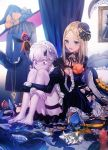 2girls abigail_williams_(fate/grand_order) backlighting bad_id bad_twitter_id bags_under_eyes bangs barefoot black_dress black_footwear black_gloves black_headwear blonde_hair blue_eyes blush bow bracelet curtains dangmill dress fate/grand_order fate_(series) forehead gloves hair_bow hair_brush hand_mirror hat high_heels horn jewelry key knees_up lavinia_whateley_(fate/grand_order) leg_hug long_hair long_sleeves maid_headdress mini_hat mirror multiple_girls neck_ribbon open_mouth orange_bow pale_skin parted_bangs pendant ribbon saint_quartz sitting smile stuffed_animal stuffed_toy teddy_bear tentacles thighs tying_hair wide-eyed witch_hat