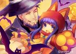 1boy 1girl ane-suisei animal_hood bat beard blue_eyes blue_hair bow cat_hood cat_paws closed_eyes facial_hair father_and_daughter fire_emblem fire_emblem:_the_binding_blade fire_emblem:_the_blazing_blade fire_emblem_heroes grin halloween_costume hat hector_(fire_emblem) highres hood lilina_(fire_emblem) long_hair open_mouth paws smile twitter_username witch_hat