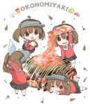 4girls ahoge brown_eyes brown_hair chibi eating food japanese_clothes kantai_collection kariginu lying magatama mugichoko_(mugi_no_choko) multiple_girls multiple_persona okonomiyaki on_stomach pleated_skirt ryuujou_(kantai_collection) sauce skirt spatula twintails visor_cap