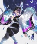 1girl animal_print bangs belt black_hair black_pants blue_eyes breasts bug butterfly butterfly_hair_ornament butterfly_on_finger butterfly_print coat forehead gradient_hair hair_ornament haori highres insect japanese_clothes katana kimetsu_no_yaiba kochou_shinobu lips long_sleeves looking_at_viewer medium_breasts michi_(iawei) multicolored_hair open_mouth pants parted_bangs patterned_background purple_hair scabbard sheath sheathed short_hair solo sword two-tone_hair uniform weapon wide_sleeves