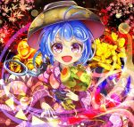 1girl :d ahoge blue_hair blush bowl bowl_hat chest chibi coin english_commentary glint hat highres holding_mallet japanese_clothes kana_(user_rkuc4823) kimono leaf light_trail long_sleeves looking_at_viewer maple_leaf miracle_mallet mixed-language_commentary needle obi open_mouth sash short_hair smile solo sukuna_shinmyoumaru touhou violet_eyes