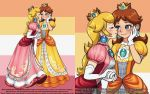 2girls blonde_hair blue_eyes blush brooch brown_hair cheek_kiss closed_eyes crown dress earrings elbow_gloves eyelashes gloves hand_on_own_face holding_hands jewelry kiss long_hair looking_at_another mario_(series) medium_hair mini_crown multiple_girls pink_dress princess_daisy princess_peach theskywaker white_gloves yellow_dress yuri