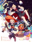 1boy 1girl bag bat black_nails blonde_hair bow broom broom_riding candle candy cape cat claw_pose commentary crescent_moon cupcake eyeball fajyobore323 fang food frilled_sleeves frills full_body ghost halloween happy_halloween hat hat_bow holding holding_broom holding_hat jack-o'-lantern kagamine_len kagamine_rin lantern light_blush lollipop long_sleeves looking_at_viewer making-of_available mansion mary_janes moon nail_polish night night_sky open_mouth red_neckwear shirt shoes short_hair short_ponytail short_sleeves shorts shoulder_bag siblings skirt sky socks spiky_hair star star_(sky) star_in_eye starry_sky symbol_in_eye thigh-highs twins vampire_costume vest vocaloid white_shirt white_skirt witch_costume witch_hat