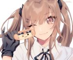 1girl black_gloves brown_eyes brown_hair closed_mouth commentary_request doughnut eyebrows_visible_through_hair food girls_frontline gloves hair_between_eyes holding long_hair looking_at_viewer moa_(21energy12) one_eye_closed simple_background solo twintails ump9_(girls_frontline) white_background