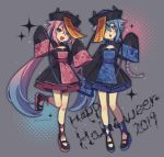 2019 2others blue_eyes blue_hair braided_ponytail chinese_clothes chinese_hat collarbone commentary fang floral_print full_body gradient_hair grey_background halloween hands_up happy_halloween hat highres jiangshi jiangshi_costume leg_up matching_outfit meika_hime meika_mikoto multicolored_hair multiple_others nou open_mouth pink_eyes pink_hair qing_guanmao sidelocks skin_fang sleeves_past_wrists smile sparkle standing talisman translated twintails vocaloid