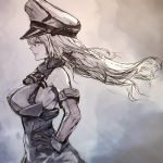 1girl anchor bare_shoulders bismarck_(kantai_collection) breasts eyelashes from_side gloves hand_on_hip hat highres kantai_collection large_breasts lips long_hair military military_hat military_uniform nona_(goodboy) parted_lips peaked_cap profile sideboob simple_background sketch solo uniform
