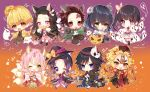 4girls 5boys :d ;) ;d agatsuma_zenitsu animal_ear_fluff animal_ears bangs black_footwear black_gloves black_hair black_headwear black_kimono black_legwear black_pants blonde_hair blue_eyes blue_hair blush boots bow braid brown_background brown_hair brown_pants butterfly_hair_ornament chain chibi closed_mouth commentary_request dango diamond-shaped_pupils eating eyebrows_visible_through_hair facial_scar fangs food forehead forehead_scar fox_ears fox_girl fox_tail ghost ghost_costume gloves gradient gradient_background gradient_hair green_eyes green_hair green_legwear hair_between_eyes hair_ornament hakama_pants halloween halloween_basket hand_on_own_face hand_up hashibira_inosuke hat heart hitodama holding holding_food holding_weapon jack-o'-lantern japanese_clothes jiangshi kamado_nezuko kamado_tanjirou kanroji_mitsuri kemonomimi_mode kimetsu_no_yaiba kimono knee_boots kochou_shinobu kyuubi long_hair long_sleeves looking_at_viewer mask mask_on_head mouth_hold multicolored_hair multiple_boys multiple_girls multiple_tails notice_lines obi ofuda one_eye_closed onigiri open_clothes open_mouth outstretched_arms pants parted_bangs paw_gloves paw_pose paws pink_bow pink_eyes pink_hair pink_kimono pleated_skirt print_kimono puffy_pants pumpkin_hat purple_background purple_hair purple_kimono qing_guanmao red_eyes red_headwear red_ribbon redhead rengoku_kyoujurou ribbon round-bottom_flask round_teeth sakura_mochi sanshoku_dango sash scar screw screw_in_head senbei shirtless sickle side_ponytail skirt skull_mask sleeves_past_fingers sleeves_past_wrists smile sparkle spread_arms standing standing_on_one_leg star striped striped_legwear symbol-shaped_pupils tail taiyaki taya_5323203 teeth thigh-highs tomioka_giyuu torn_clothes tsuyuri_kanao twin_braids twitter_username two-tone_hair upper_teeth v-shaped_eyebrows vertical-striped_legwear vertical_stripes very_long_hair violet_eyes wagashi weapon white_gloves white_kimono white_legwear white_skirt wide_sleeves witch_hat wolf_boy wolf_ears wolf_tail yellow_eyes zombie_pose