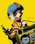 1girl bag bangs blue_hair blunt_bangs boku_no_hero_academia boombox cellphone clonion glasses hand_on_headphones headphones highres instagram_username jacket jirou_kyouka looking_at_viewer looking_to_the_side nail_polish phone profile radio red_nails short_hair shoulder_bag simple_background smartphone solo upper_body yellow_background zipper