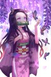 1girl animal backlighting bamboo bangs bit_gag black_hair blurry blurry_background brown_hair bug butterfly checkered commentary_request depth_of_field fingernails flower forehead gag gradient_hair hair_ribbon hands_up highres insect japanese_clothes kamado_nezuko kimetsu_no_yaiba kimono long_hair long_sleeves looking_away mouth_hold multicolored_hair nail_polish obi open_clothes parted_bangs petals pink_eyes pink_kimono pink_nails pink_ribbon purple_flower ribbon ruda_(ruda_e) sash sharp_fingernails solo very_long_hair white_background wide_sleeves wisteria