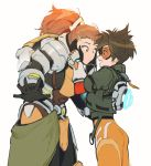 absurdres armor ass brigitte_(overwatch) brown_eyes brown_hair eye_contact gloves goggles hands_on_another's_cheeks hands_on_another's_face highres jacket korean_commentary looking_at_another maro_(lij512) open_hands open_mouth overwatch overwatch_2 ponytail power_armor short_hair simple_background smile standing tracer_(overwatch) white_background