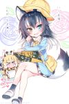 >_< 6+girls adapted_costume animal_ears bag black_hair black_legwear blonde_hair blue_eyes blush bow bowtie commentary_request crayon crossed_legs eyebrows_visible_through_hair ezo_red_fox_(kemono_friends) giraffe_ears giraffe_girl giraffe_horns giraffe_print grey_wolf_(kemono_friends) hat heterochromia highres kaban_(kemono_friends) kemono_friends kindergarten_bag kindergarten_uniform long_hair long_sleeves mary_janes multiple_girls name_tag nose_blush open_mouth orange_eyes orange_hair plaid plaid_skirt pleated_skirt print_neckwear reticulated_giraffe_(kemono_friends) sailor_collar scarf school_hat serval_(kemono_friends) shoes short_hair silver_fox_(kemono_friends) silver_hair sketchbook skirt socks tail takahashi_tetsuya translation_request wolf_ears wolf_girl wolf_tail yellow_eyes yellow_neckwear