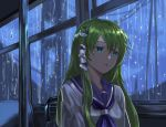 1girl :o alternate_costume blue_neckwear blue_sailor_collar blurry blurry_background bus_interior commentary frog_hair_ornament green_eyes green_hair hair_ornament hair_tubes highres indoors kochiya_sanae long_hair looking_away looking_to_the_side neckerchief rain reki_(user_rcrd4534) sailor_collar school_uniform serafuku shiny shiny_hair sitting snake_hair_ornament solo touhou very_long_hair