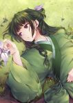 1girl chinese_clothes flat_chest flower freckles grass green_hair green_theme hair_ribbon half_updo hand_on_own_stomach kusuriya_no_hitorigoto long_hair long_sleeves looking_to_the_side low-tied_long_hair lying maomao_(kusuriya_no_hitorigoto) marble multi-tied_hair nature on_back on_ground reaching ribbon solo upper_body violet_eyes wide_sleeves yue_(pixiv2547)