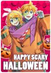 1boy 1girl bat blonde_hair blue_eyes bucket candy checkered checkered_background claw_pose coat commentary cosplay dariagiftstuff english_commentary english_text food frankenstein's_monster frankenstein's_monster_(cosplay) green_skin halloween hand_up happy_halloween highres jack-o'-lantern kagamine_len kagamine_rin lollipop looking_at_viewer open_mouth orange_coat plaid scarf shirt siblings smile stitched_face stitched_fingers stitches striped striped_shirt twins v-shaped_eyebrows vocaloid
