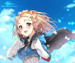 1girl artist_name bangs blonde_hair blue_sky blush braid breasts cape commentary crown_braid fingerless_gloves gloves green_eyes hair_ornament hairclip highres lazoomaiga long_sleeves looking_at_viewer medium_breasts parted_bangs pointy_ears princess_zelda short_hair sky smile solo the_legend_of_zelda the_legend_of_zelda:_breath_of_the_wild the_legend_of_zelda:_breath_of_the_wild_2 thick_eyebrows upper_body