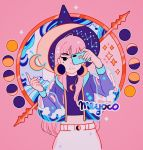 1girl artist_name bangs black_eyes constellation crescent crescent_earrings crescent_moon earrings full_moon gibbous_moon half_moon hat holding holding_phone jewelry long_hair long_sleeves meyoco midriff mole mole_under_eye moon moon_phases new_moon original phone pink_background pink_hair puffy_long_sleeves puffy_sleeves see-through simple_background smile solo wave_print witch_hat