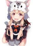 1girl animal_hood black_ribbon black_serafuku black_shirt black_skirt blonde_hair capelet dog_hood dog_tail fangs gloves gradient_hair hair_ornament hairclip halloween_costume highres hood kantai_collection long_hair looking_at_viewer mia_(kuja999) miniskirt multicolored_hair open_mouth paw_gloves paw_shoes paws pleated_skirt red_eyes redhead remodel_(kantai_collection) ribbon school_uniform serafuku shirt shoes short_sleeves sitting skirt solo tail wariza yuudachi_(kantai_collection)