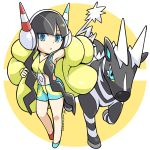 1girl armpits black_hair blue_eyes chibi coat full_body gen_5_pokemon headphones kamitsure_(pokemon) long_hair looking_at_viewer multicolored multicolored_clothes multicolored_shorts outstretched_arm peron_(niki2ki884) pokemon pokemon_(game) pokemon_bw2 pokemon_masters puffy_coat shorts signature standing very_long_hair yellow_coat zebstrika