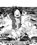 1girl :d beach blush closed_eyes dog greyscale hood hoodie masuda_(yousaytwosin) monochrome open_mouth original outdoors short_shorts shorts smile solo waves wet wet_clothes