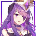 1girl eyepatch facial_mark hair_ornament kan_(rainconan) league_of_legends magical_girl purple_hair smile solo star_guardian_(league_of_legends) star_guardian_syndra syndra violet_eyes