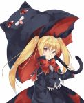 1girl arm_at_side bangs black_cat black_jacket black_ribbon black_skirt blazblue bow bowtie cat cowboy_shot eyebrows_visible_through_hair hair_ribbon holding holding_umbrella iroha_(unyun) jacket long_hair long_sleeves looking_at_viewer parted_lips rachel_alucard red_bow red_eyes red_neckwear ribbon simple_background skirt solo twintails umbrella white_background