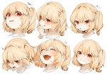 1girl :d :p ^_^ bangs blonde_hair clenched_teeth closed_eyes commentary expressions eyebrows_visible_through_hair fan flandre_scarlet gotoh510 grin hair_between_eyes hand_up head_tilt highres looking_at_viewer multiple_views no_hat no_headwear one_side_up open_mouth pointy_ears red_eyes short_hair simple_background smile sweat symbol_commentary teeth tongue tongue_out touhou translation_request v-shaped_eyebrows white_background