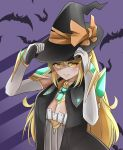 1girl alternate_costume blonde_hair breasts elbow_gloves gem gloves halloween hat highres hikari_(xenoblade_2) large_breasts long_hair looking_at_viewer sarasadou_dan solo witch witch_hat xenoblade_(series) xenoblade_2 yellow_eyes